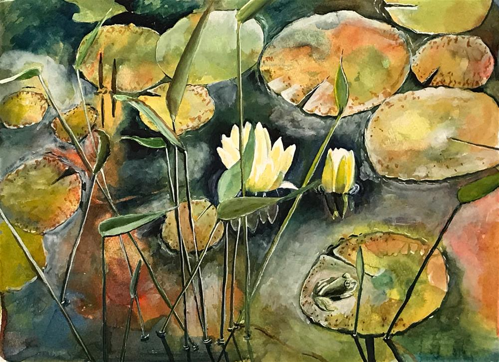 """""""Lily Pads"""" original fine art by Bunny Griffeth"""