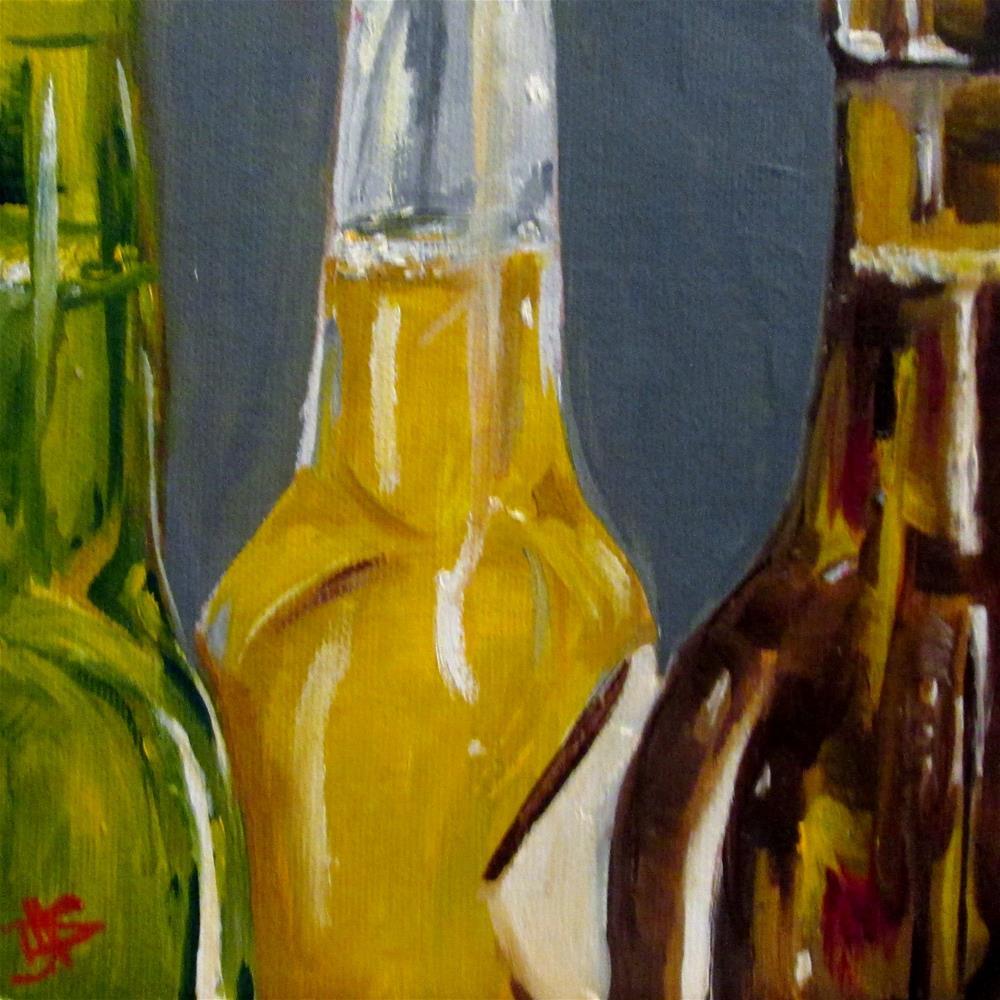 """""""Beer Bottles"""" original fine art by Delilah Smith"""