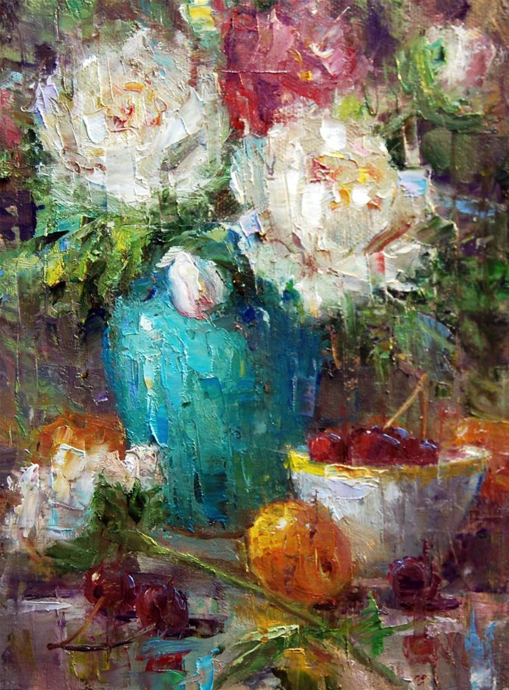 """""""Peonies and Turquoise"""" original fine art by Julie Ford Oliver"""