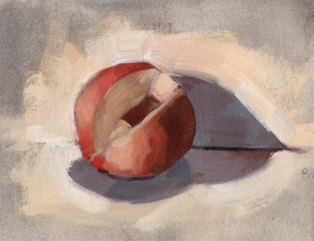 """Sliced Up Nectarine"" original fine art by Marlene Lee"