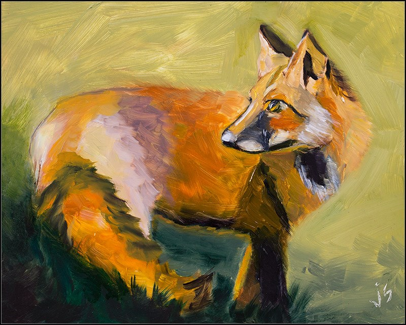"""Dawn Fox"" original fine art by Johnna Schelling"