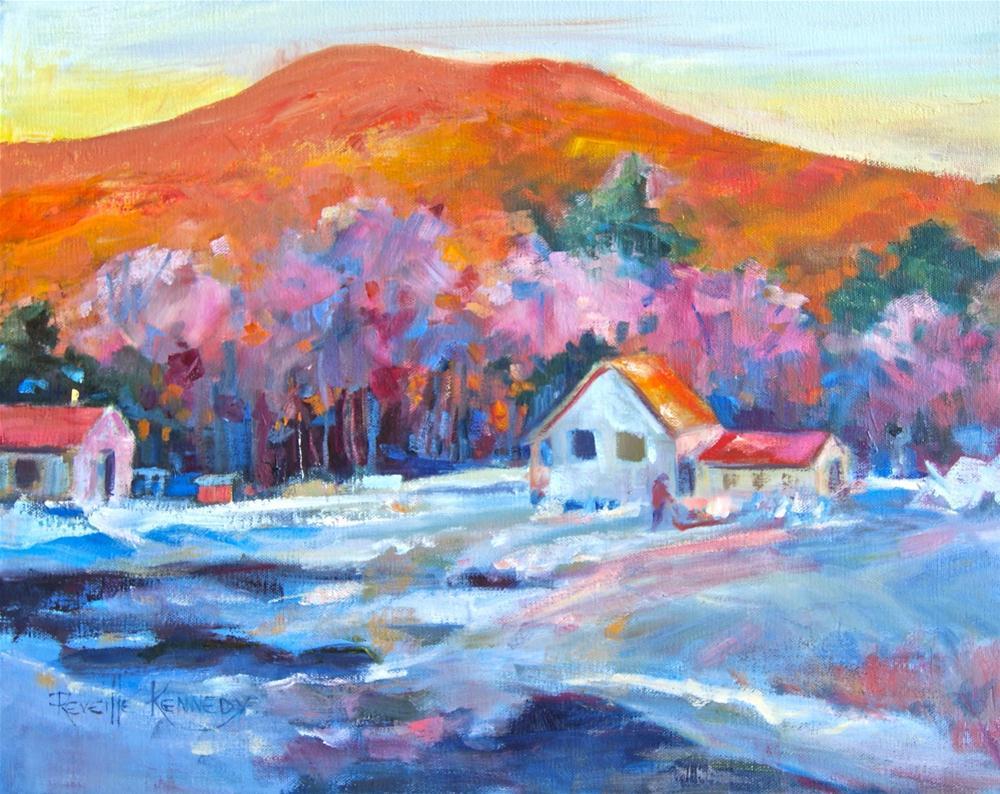 """Sundown Sledding"" original fine art by Reveille Kennedy"