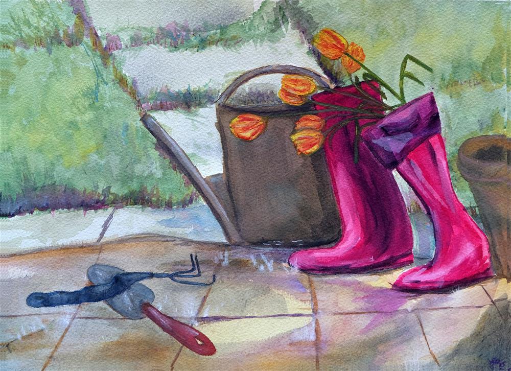 """""""Rainy Day Garden Work"""" original fine art by Laura Denning"""