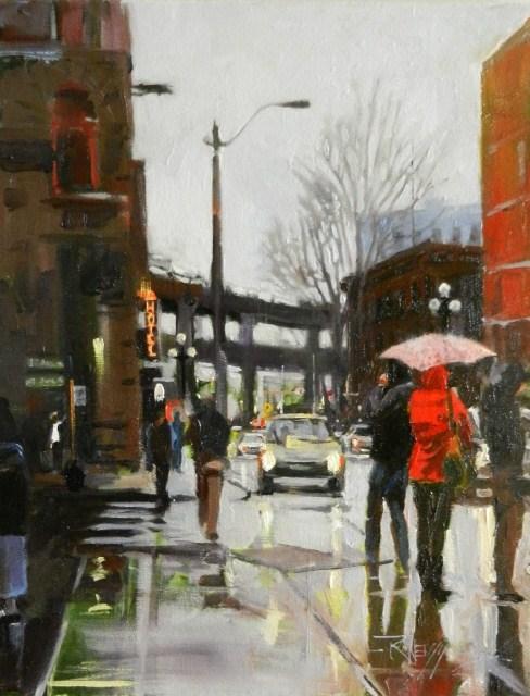 """""""Feels Like Seattle Seattle city, urban oil painting by Robin Weiss"""" original fine art by Robin Weiss"""