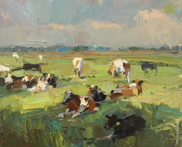 """""""Painting Cows on a Sunny Day"""" original fine art by Roos Schuring"""