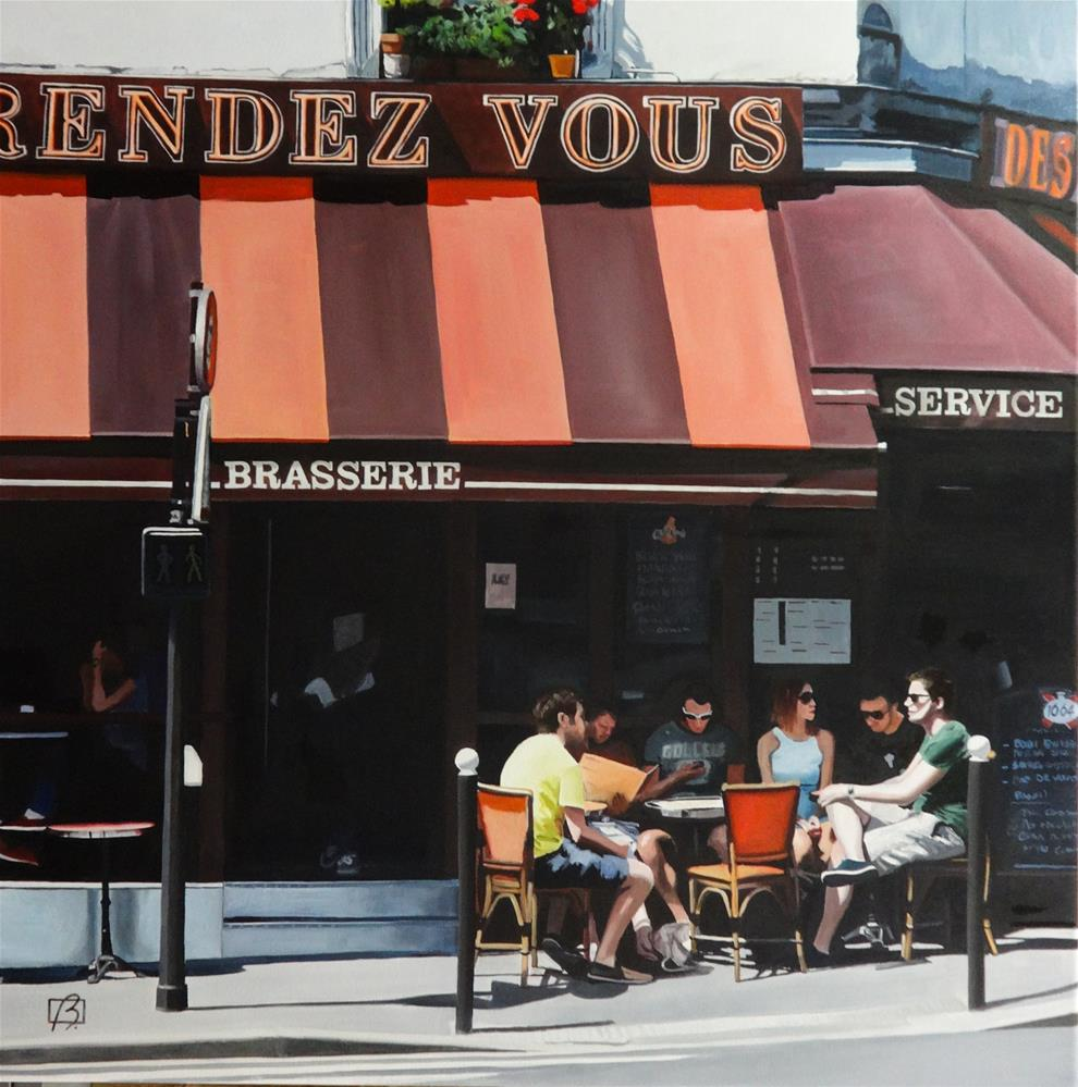 """""""Cafe au Rendez Vous"""" original fine art by Andre Beaulieu"""