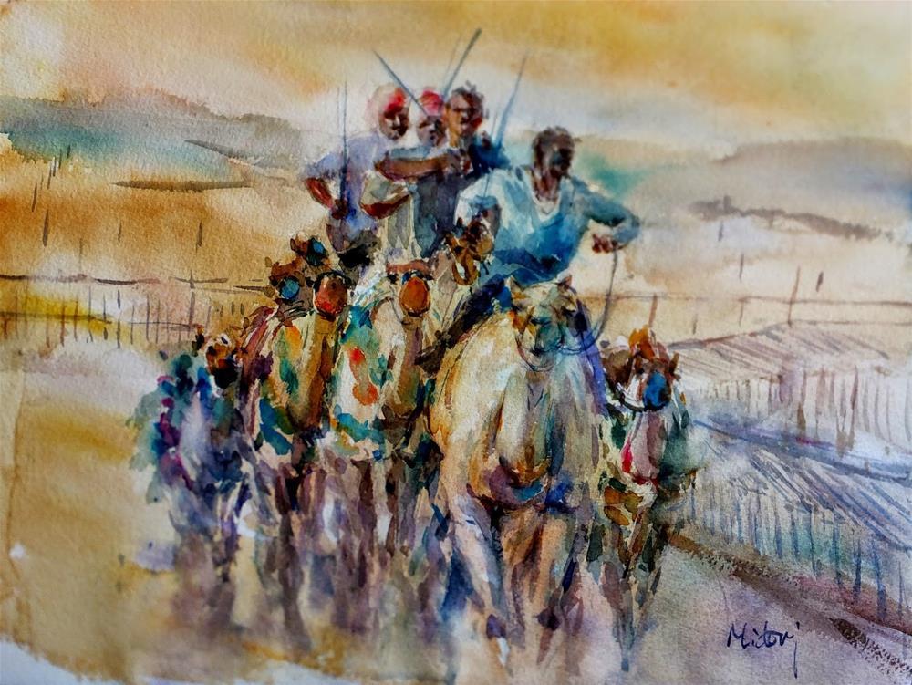 """""""Al Ain Camel Race track 5/7"""" original fine art by Midori Yoshino"""