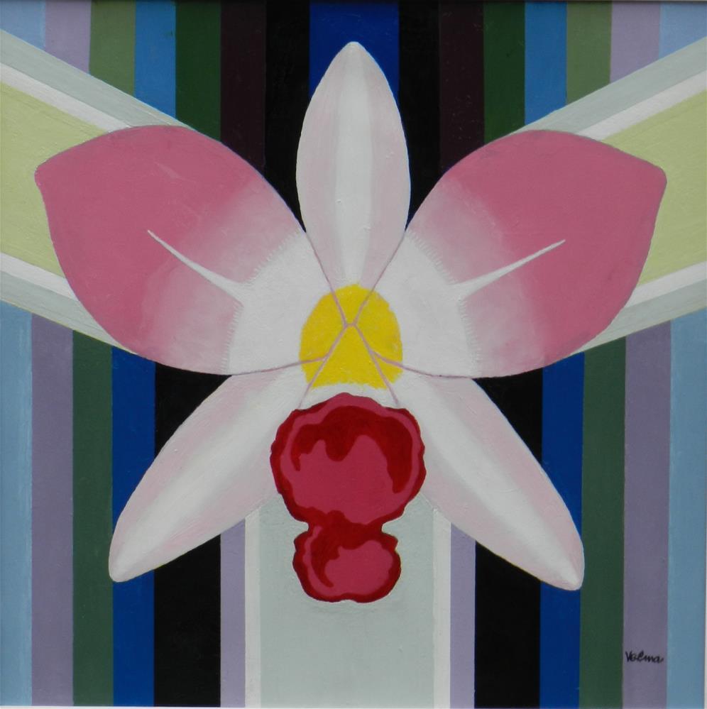 """Pink, Red, White Orchid"" original fine art by Velma Davies"