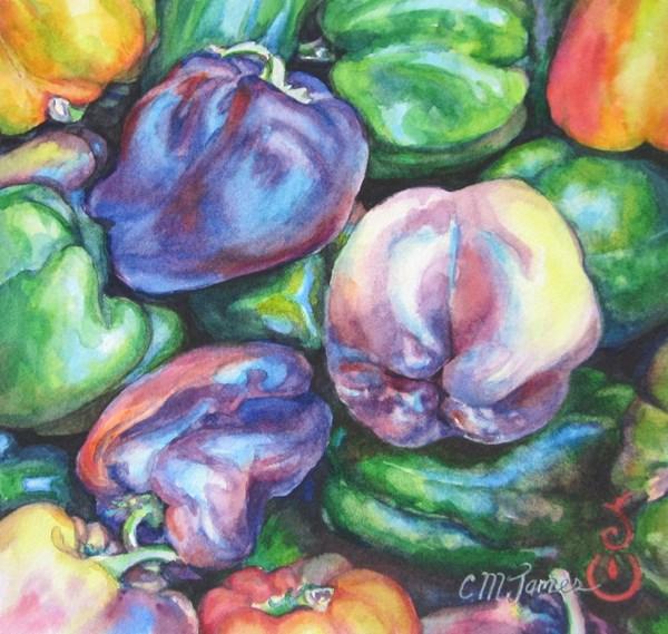 """Pick a Purple Pepper"" original fine art by Catherine M. James"