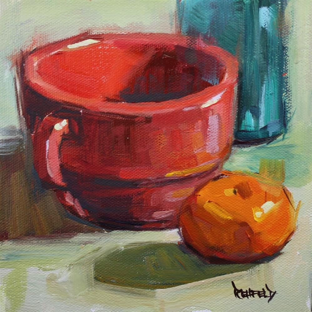"""Antique Red Cup and Mandarin Orange"" original fine art by Cathleen Rehfeld"