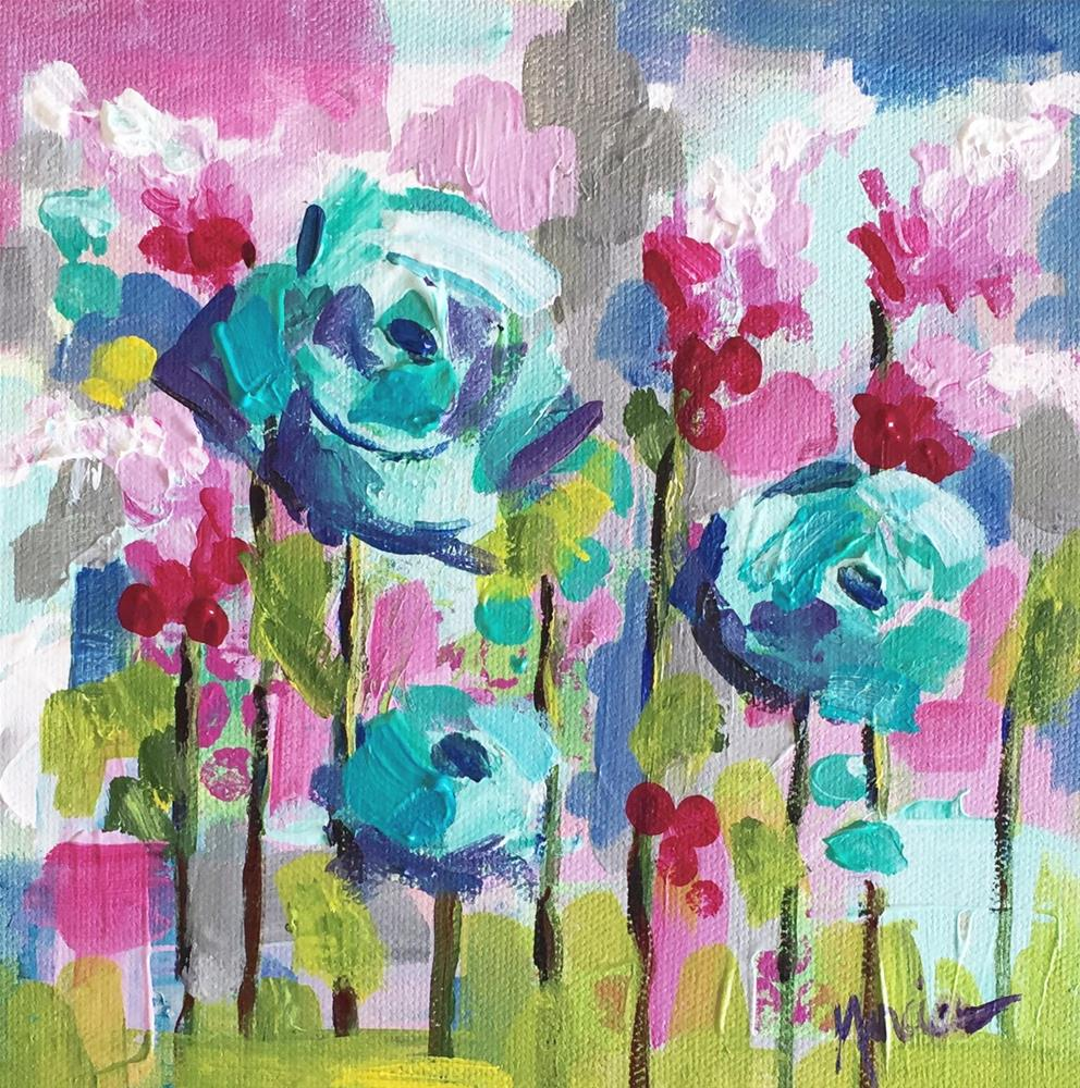 """Blue Roses"" original fine art by Marcia Hodges"