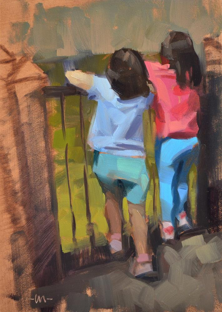 """Hanging Over the Rails"" original fine art by Carol Marine"