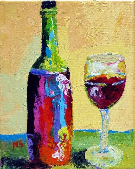 """Wine and Glass 12059"" original fine art by Nancy Standlee"