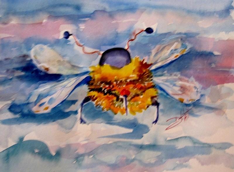 """Bee Back"" original fine art by Delilah Smith"