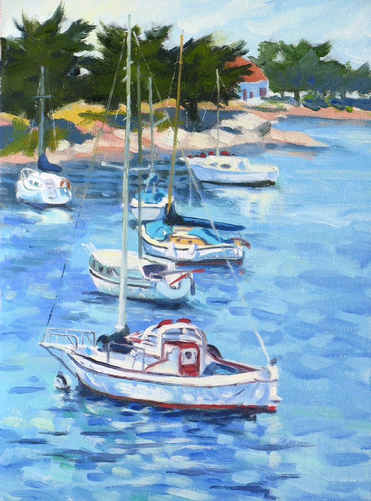 """Boats in a Row"" original fine art by Rhett Regina Owings"