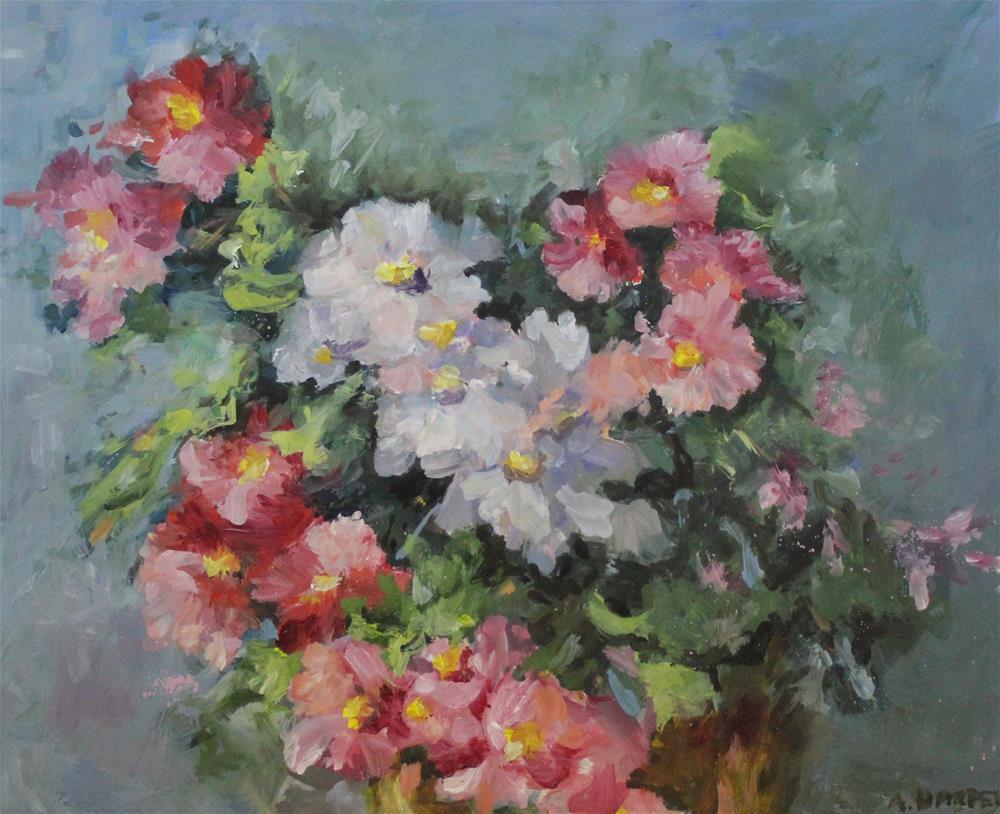 """Original oil begonia painting impressionism still life floral flower"" original fine art by Alice Harpel"