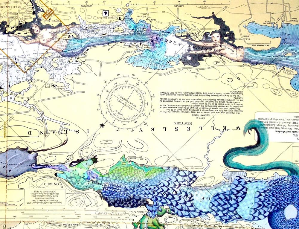 """""""Mermaids and Sea Serpent, 14x11 Graphite and Watercolor on Nautical Chart"""" original fine art by Carmen Beecher"""
