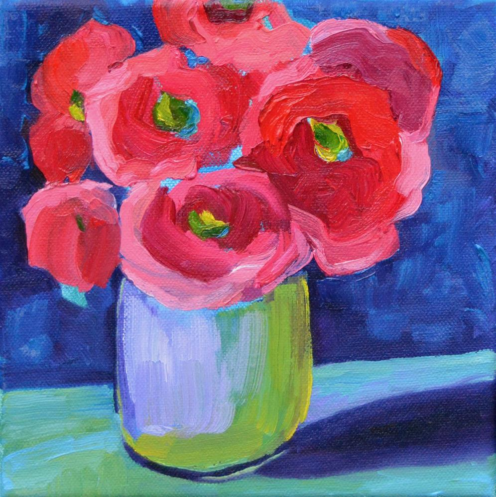"""Red Flowers"" original fine art by Loralee Chapleau"