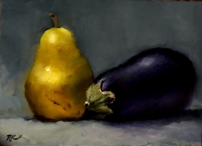 """Pear and Eggplant"" original fine art by Bob Kimball"