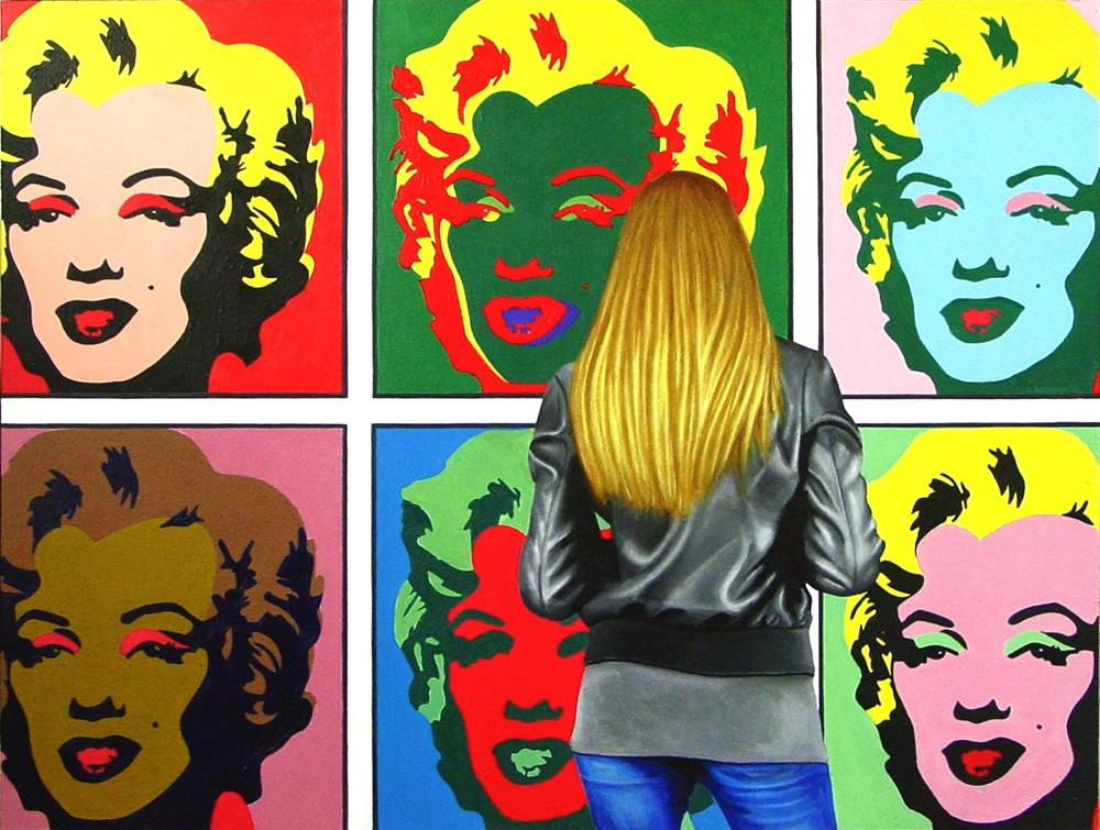"""""""6 Marilyns- Painting Of Woman Enjoying Painting By Andy Warhol"""" original fine art by Gerard Boersma"""