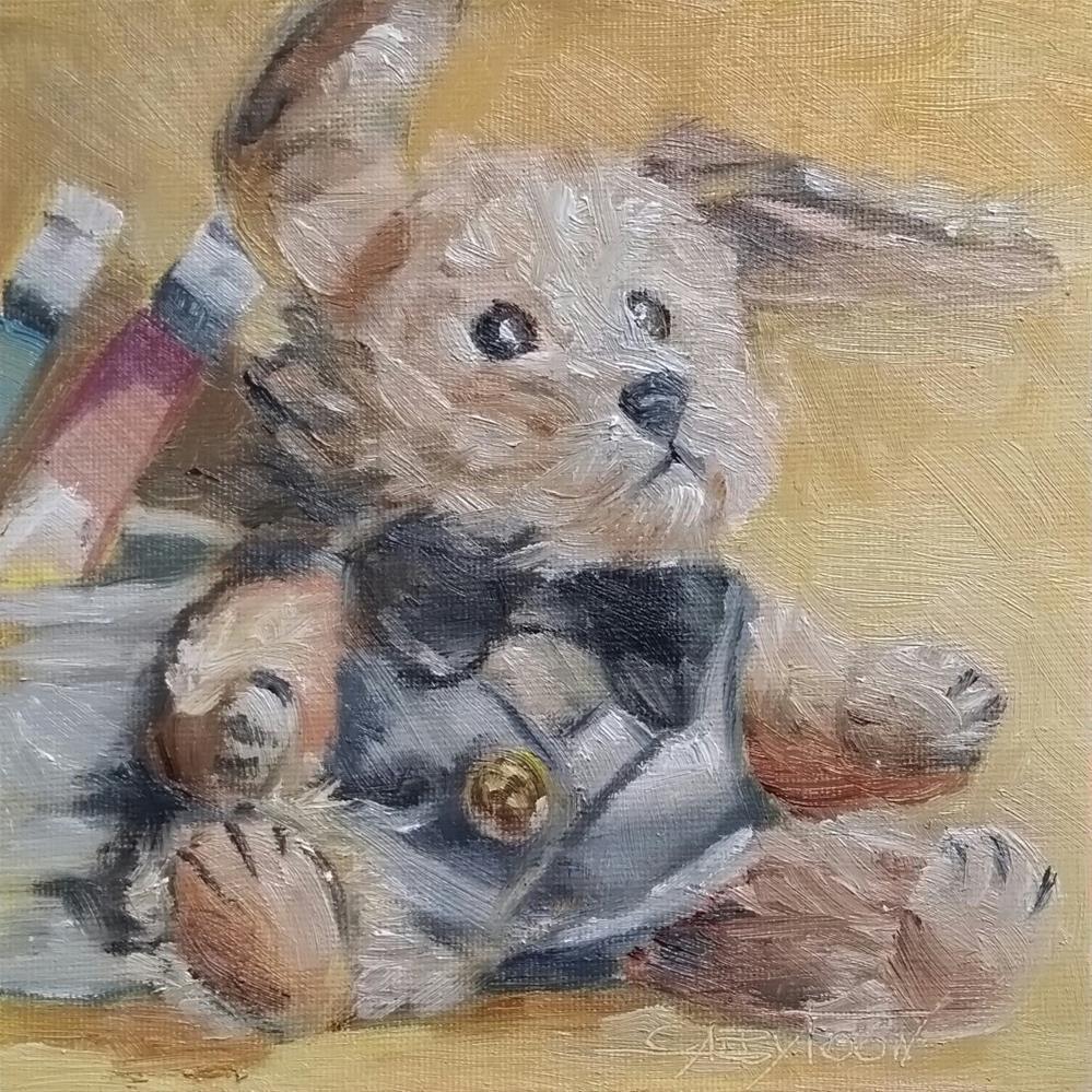 """""""Dressed Doggy"""" original fine art by Gabriella DeLamater"""