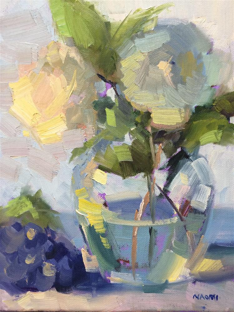 """Blue flowers and grapes"" original fine art by Naomi Bautista"