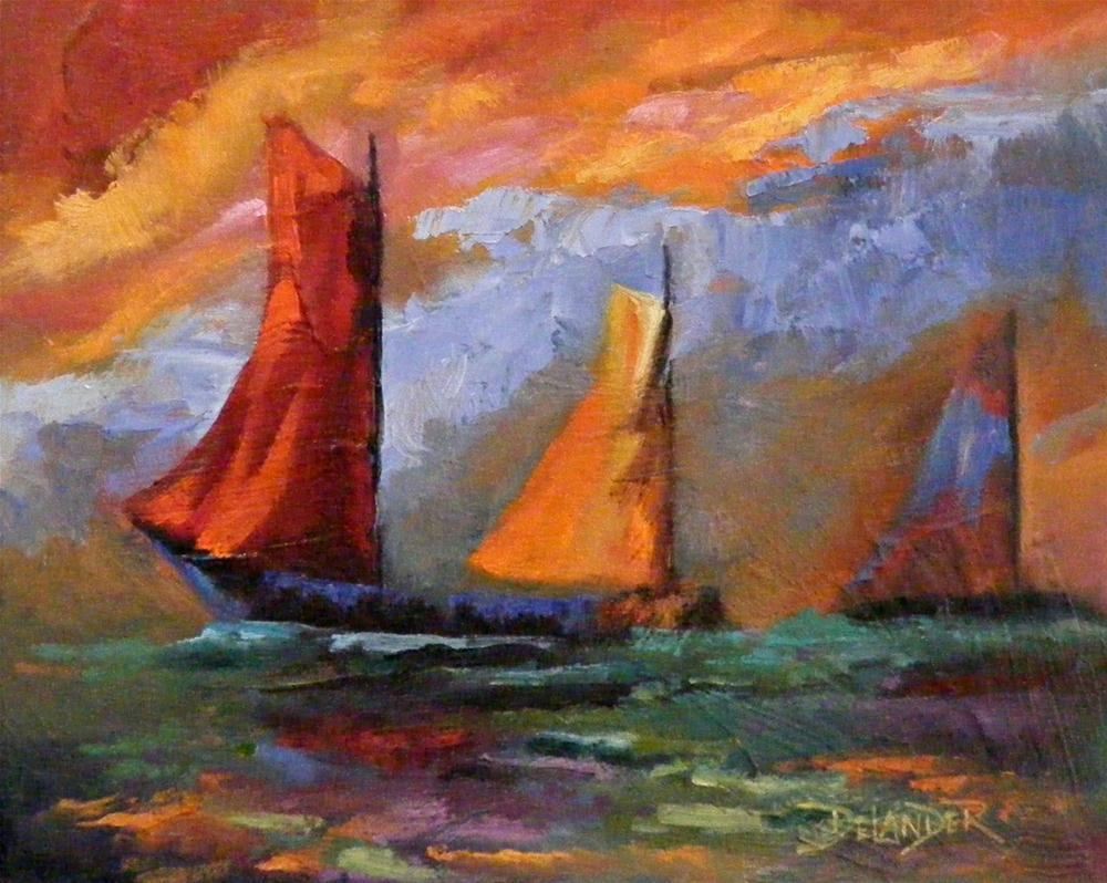 """Abstract Boats 2"" original fine art by Diana Delander"
