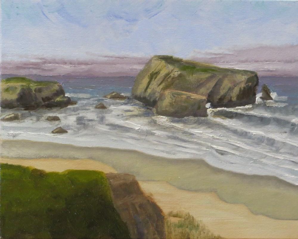 """Haystack Rock"" original fine art by Richard Kiehn"