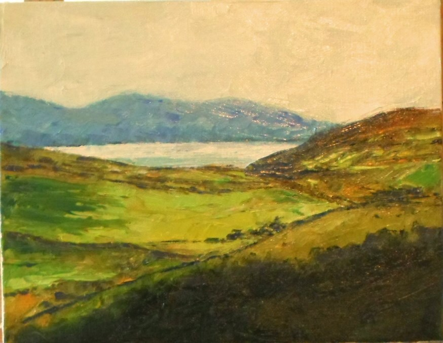 """""""8 x 10 inch oil Rolling Fields"""" original fine art by Linda Yurgensen"""