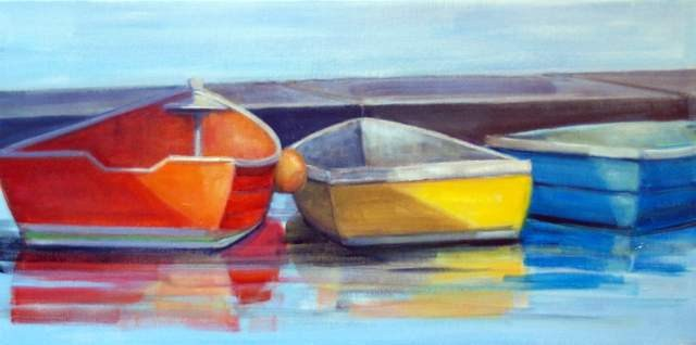 """First Light on Boats"" original fine art by Christina Dowdy"