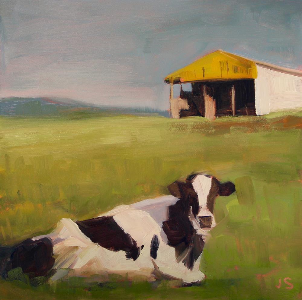 """""""The Curious Cow"""" original fine art by Jamie Stevens"""