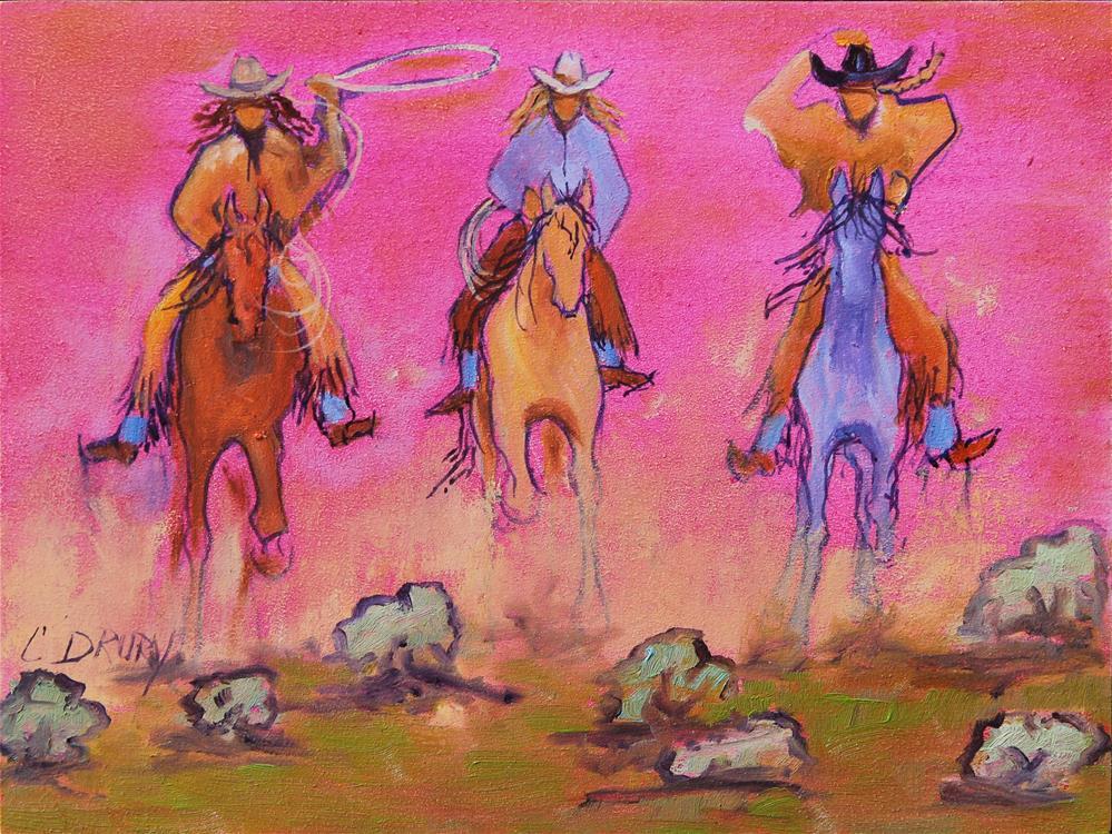 """""""Cowgirl Stampede"""" original fine art by Colleen Drury"""