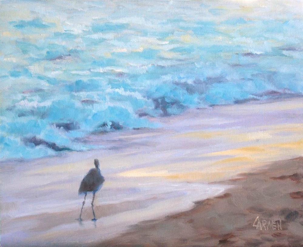 """Wading at Sunrise, 10x8 Oil on Canvas, Seascape on Beach"" original fine art by Carmen Beecher"