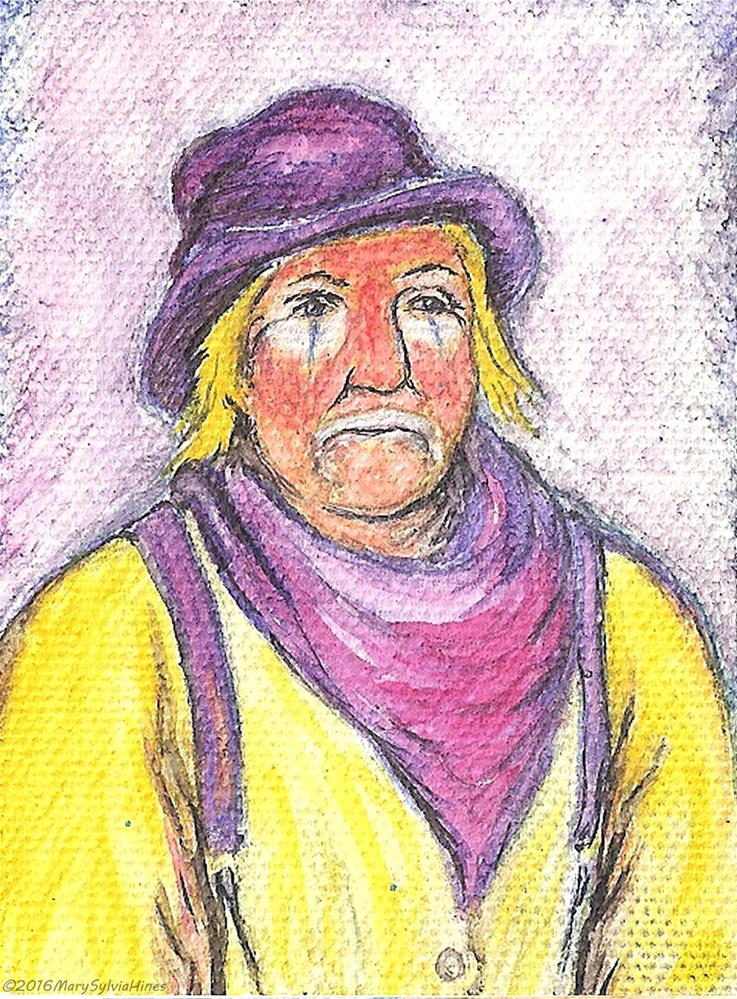 """ACEO-Rodeo Clown 01"" original fine art by Mary Sylvia Hines"