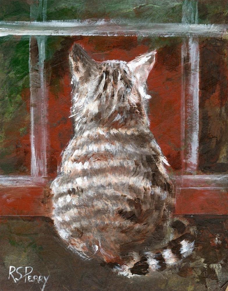 """Indoor Cat Looking Out "" original fine art by R. S. Perry"