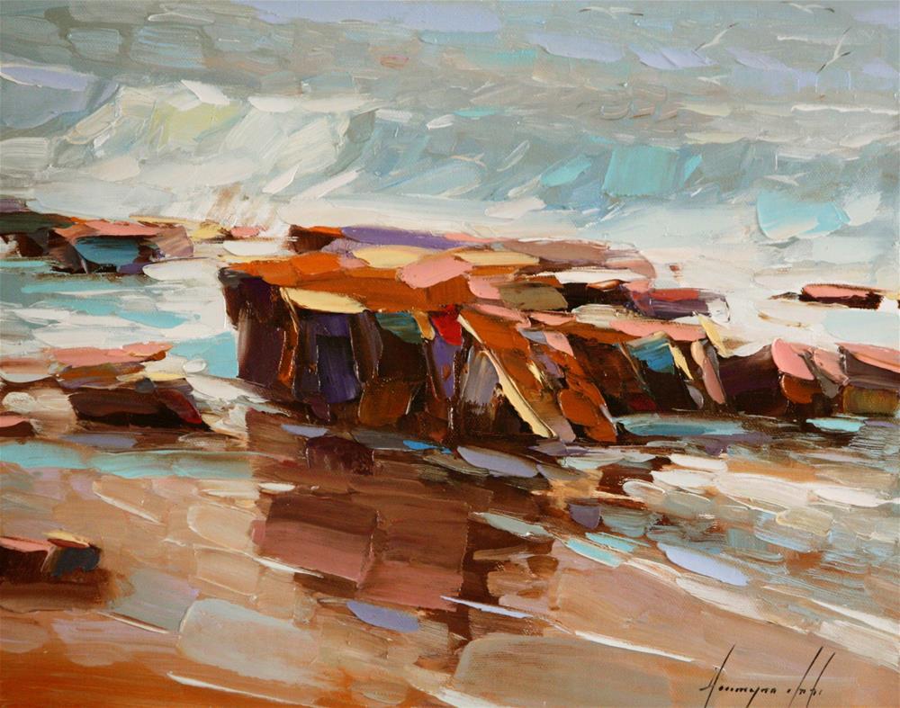 """""""OCEAN OIL PAINTING"""" original fine art by V Y"""