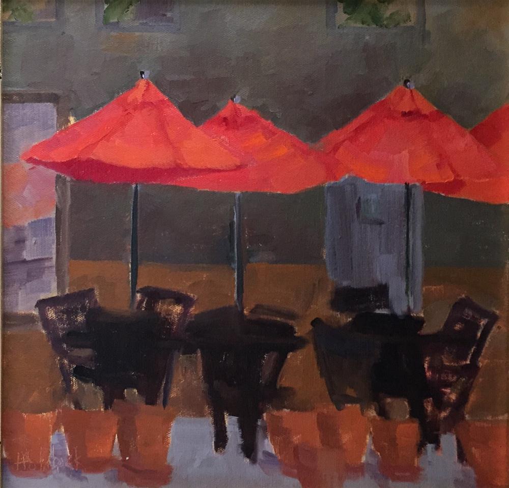"""""""Cafe Umbrellas"""" original fine art by Pam Holnback"""
