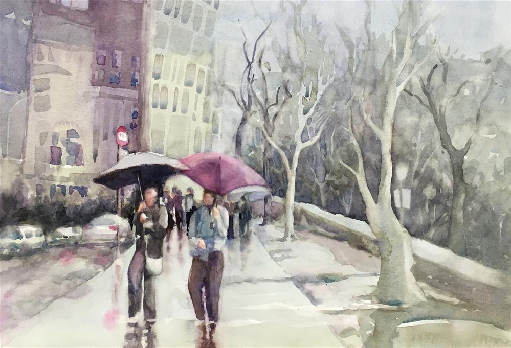 """Manhattan Rain"" original fine art by Julie Crouch"