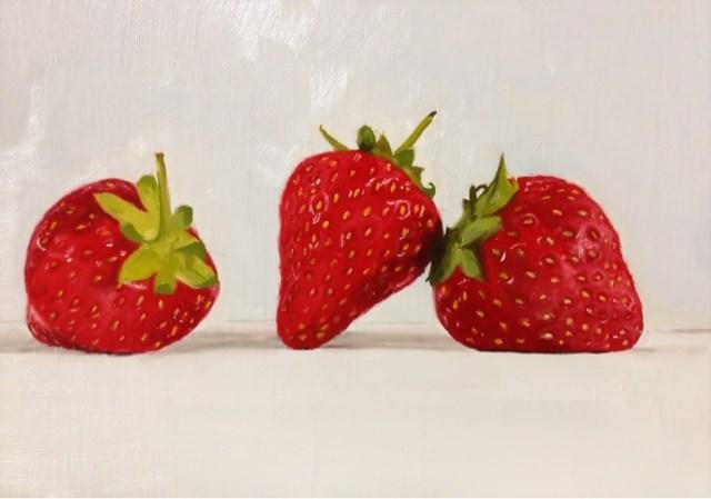 """""""Strawberry Trio"""" original fine art by James Coates"""