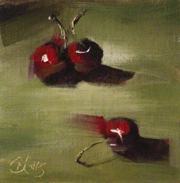 """Three Cherries"" original fine art by Pamela Blaies"