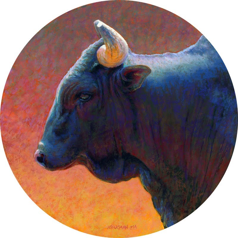 """Bull Profile #2"" original fine art by Rita Kirkman"