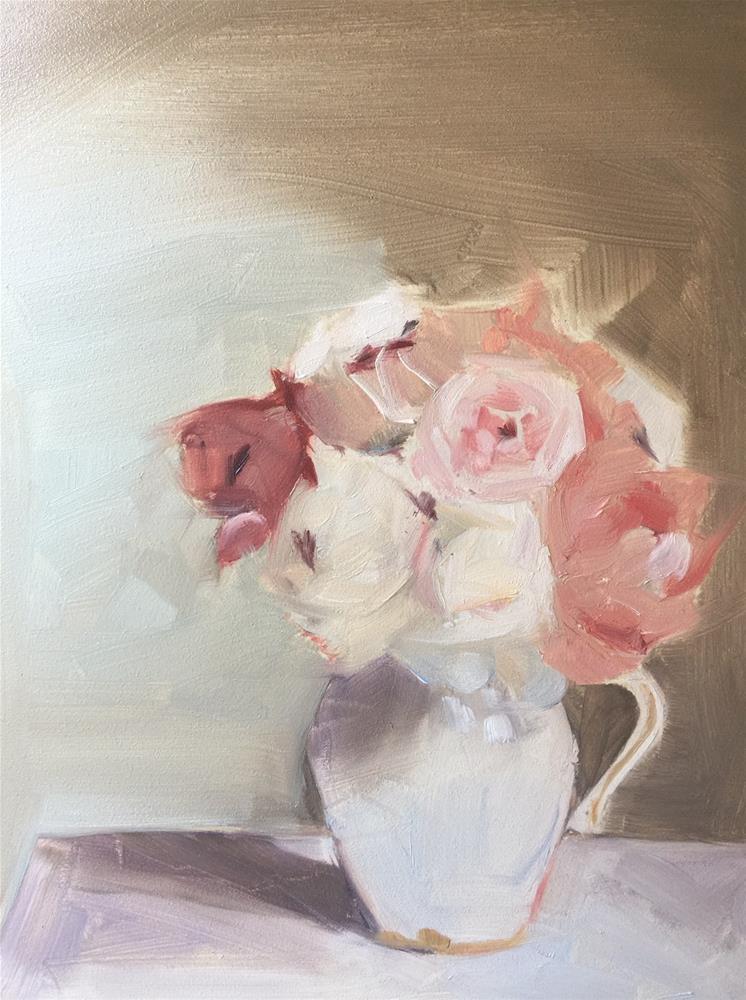 """497 Observing Peonies"" original fine art by Jenny Doh"