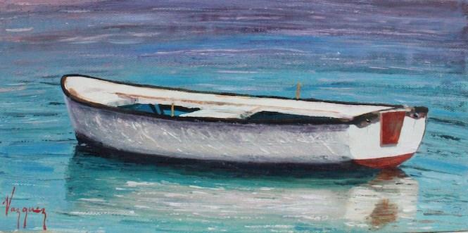 """Lone boat"" original fine art by Marco Vazquez"