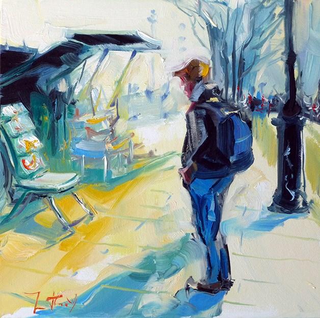 """""""Buchhändler an der Seinepromenade"""" original fine art by Jurij Frey"""