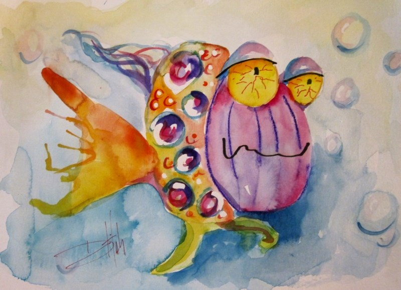 """""""Tired Fish"""" original fine art by Delilah Smith"""
