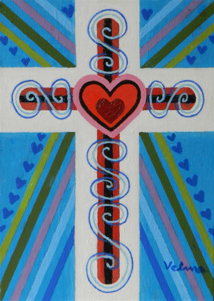 """Jeweled Cross 3"" original fine art by Velma Davies"