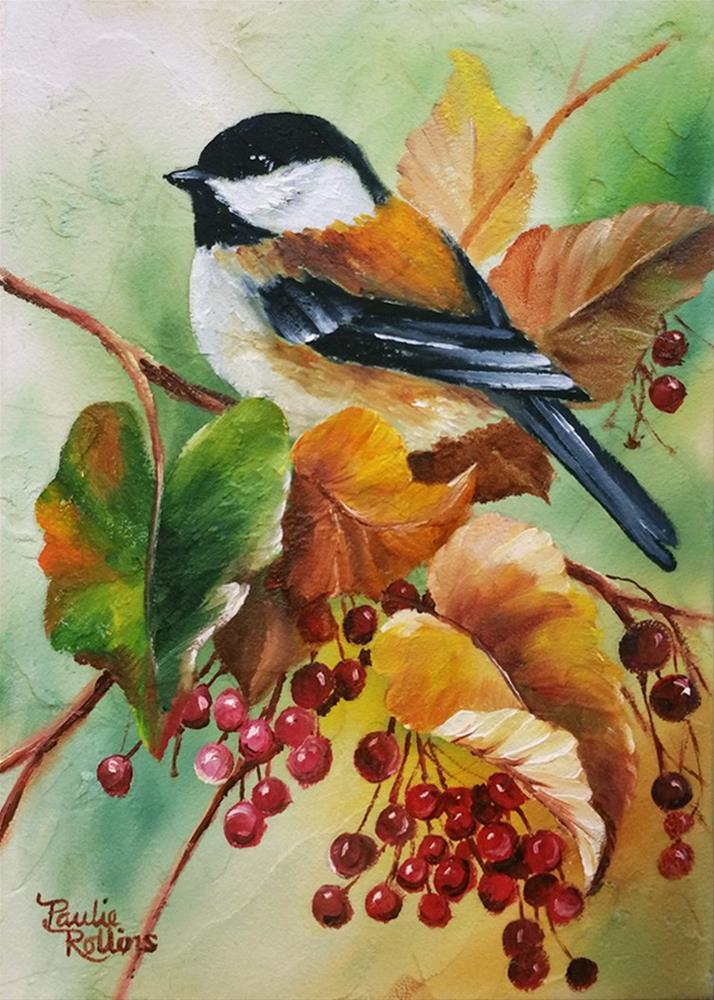"""Autumn Chickadee 2"" original fine art by Paulie Rollins"
