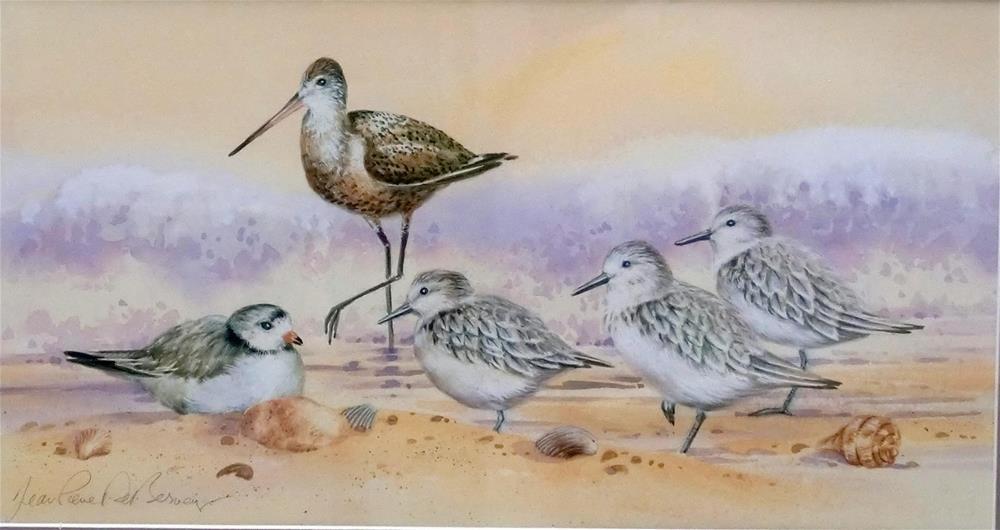 """""""Shore birds IV, framed"""" original fine art by Jean Pierre DeBernay"""