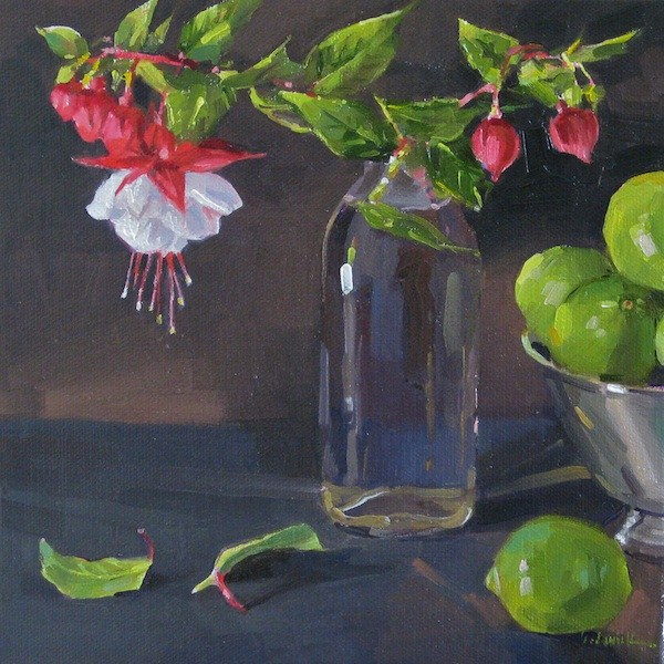 """Fuchsia Cuttings floral oil painitng original still life flowers and limes"" original fine art by Sarah Sedwick"