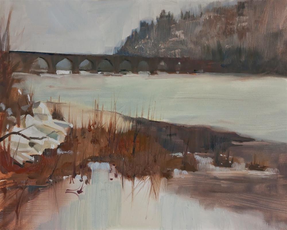 """Late Winter View of Rockville Bridge by Beth Bathe"" original fine art by Beth Bathe"